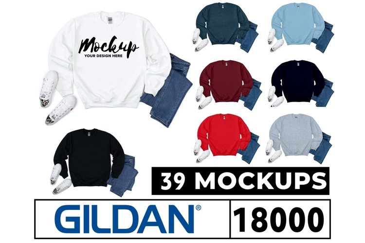 Gildan 18000 Sweatshirt Mockups 39 Colors Flat Lay White Bg