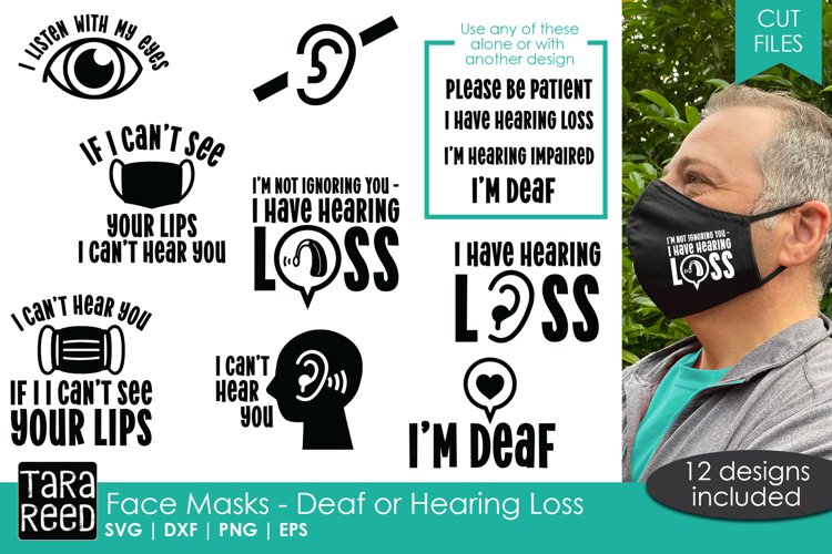 Face Mask Sayings For The Deaf Or Hard Of Hearing Svg Plus 800978 Cut Files Design Bundles