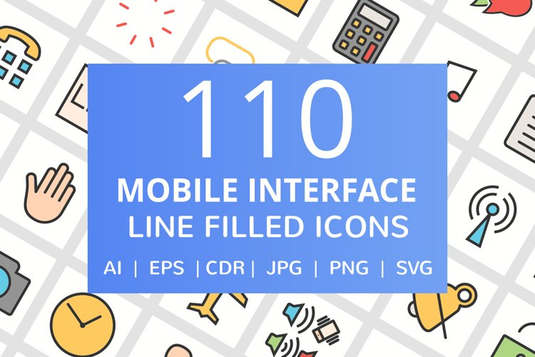 110 Mobile Interface Filled Line Icons example image 1