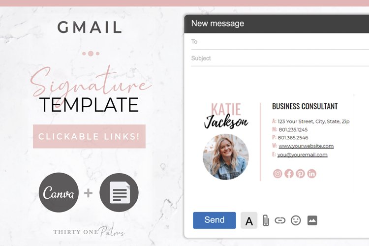 Email Signature for Canva & Gmail| Blush & Black