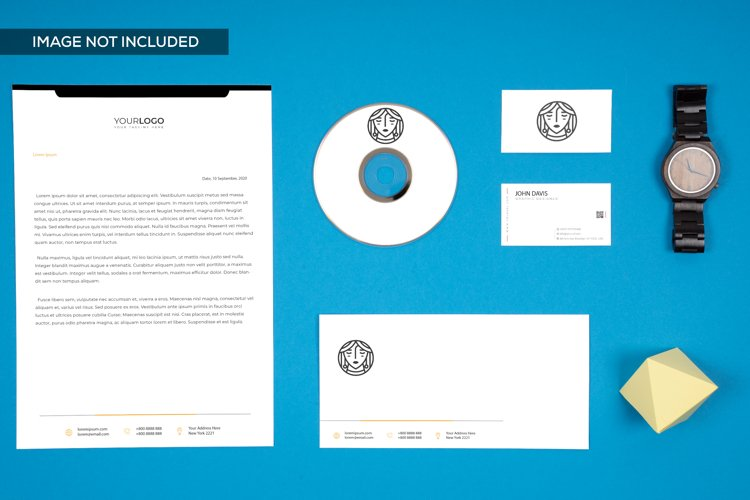Top View Branding Mockup in Blue 1 example image 1