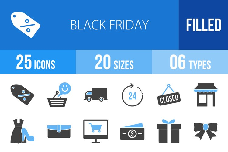 25 Black Friday Filled Blue & Black Icons example image 1