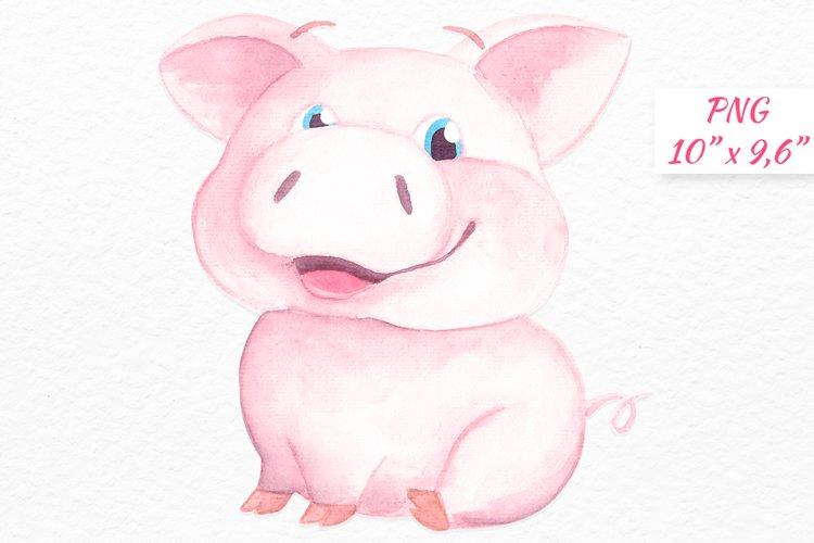 Pig clipart Watercolor pig graphics Baby pig clip art