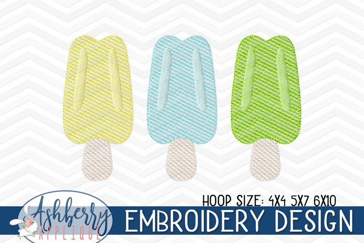 Popsicle Trio Sketch Embroidery Design 4x4 5x7 6x10