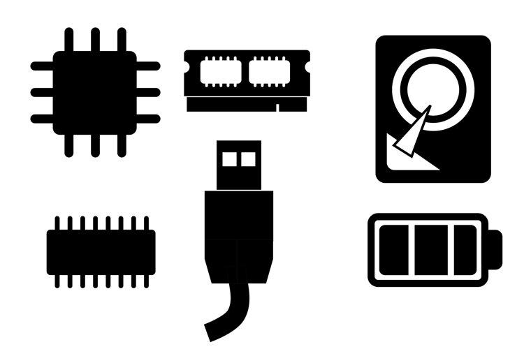 Silhouette Icon Computer Hardware Symbol example image 1
