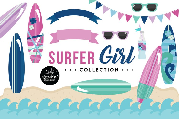 Surfer Girl Clipart Graphics & Digital Paper Patterns Bundle example image 1