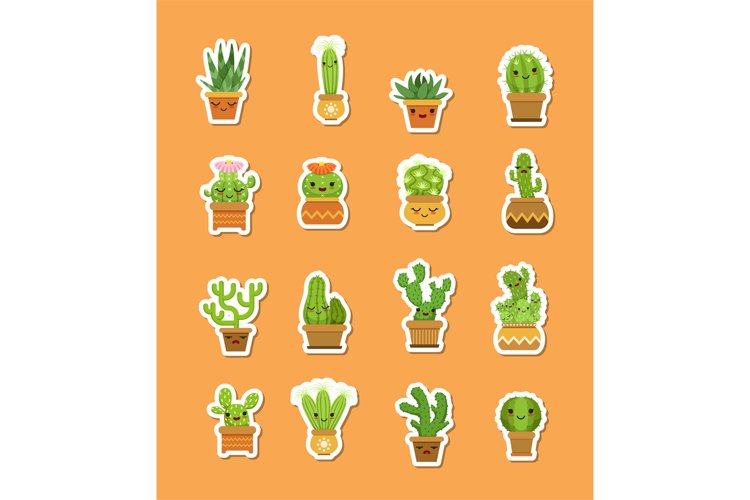 Vector cacti in pots flat style stickers example image 1