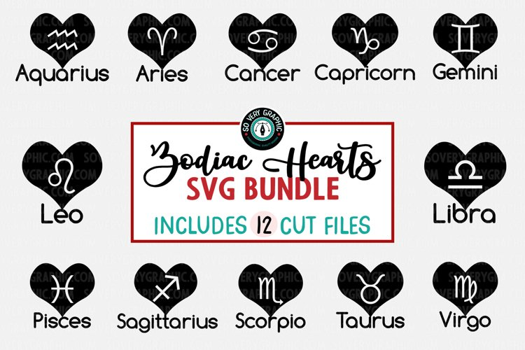 Zodiac Horoscope Heart Tattoo SVG Bundle