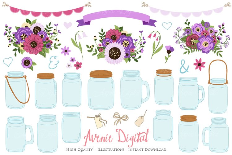 Purple Mason Jar Floral Purple Wedding Clipart example image 1