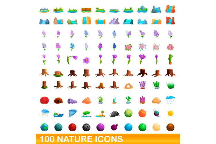 100 nature icons set, cartoon style example image 1