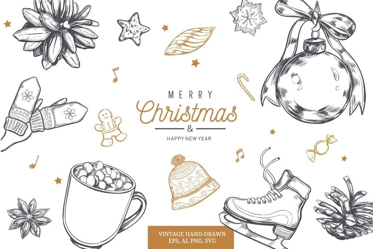 Merry Christmas and New Year vintage hand-drawn illustration example image 1