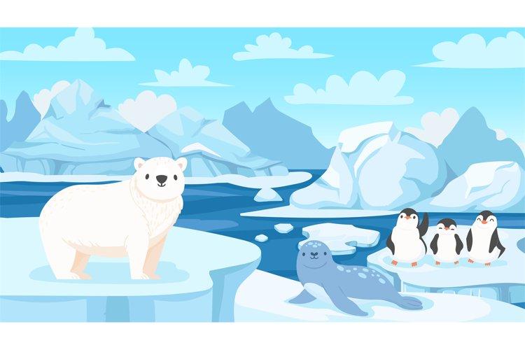 Cartoon arctic landscape with animals. White bears and pengu example image 1