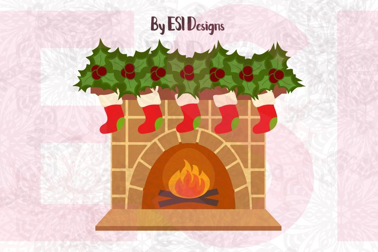 Christmas Fireplace Design - SVG, DXF, EPS & PNG example image 1