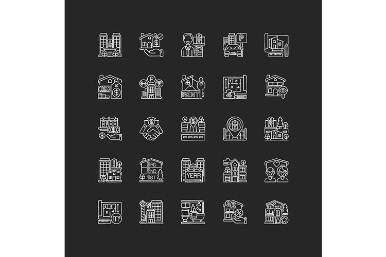 Real estate chalk white icons set on black background example image 1
