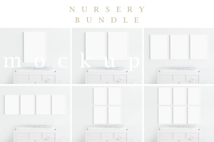 Kids Interior Nursery A4 White Frame Mockup BUNDLE/M183 example image 1