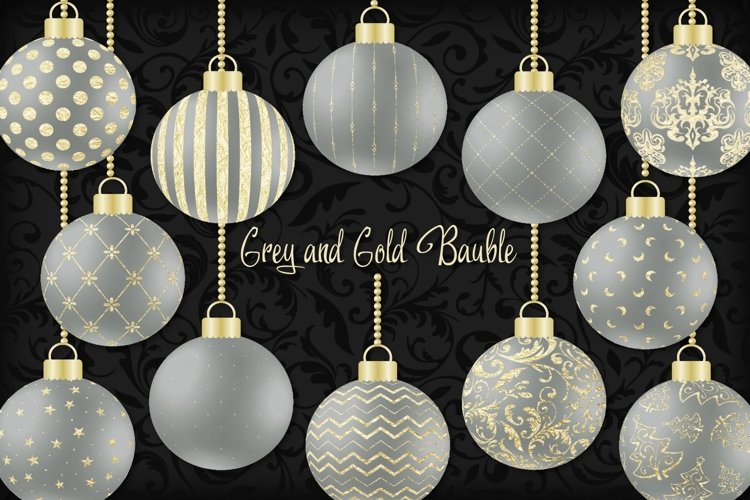 Grey and Gold Christmas Bauble example image 1