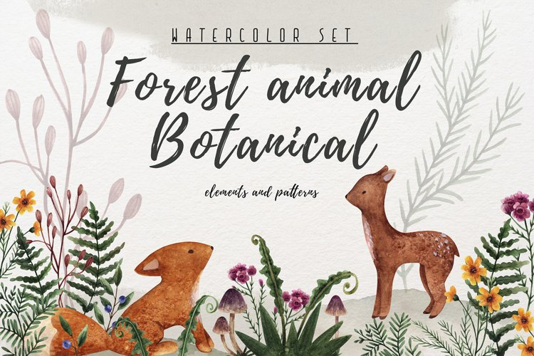 Watercolor clip art forest animals and botany