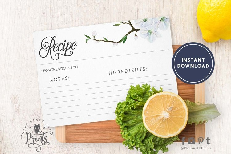 Spring floral Recipe card   Printable   Double Sided
