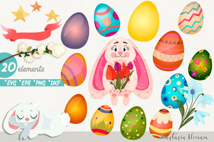 Easter egg hunt with cute bunny vector clipart eps png svg example image 1