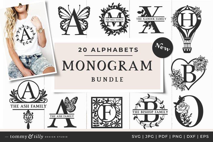 20 Alphabet Monogram SVG Bundle Cut Files example image 1