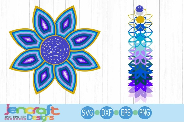 3D Floral Mandala SVG, Eps, Dxf Cut file Layered Design