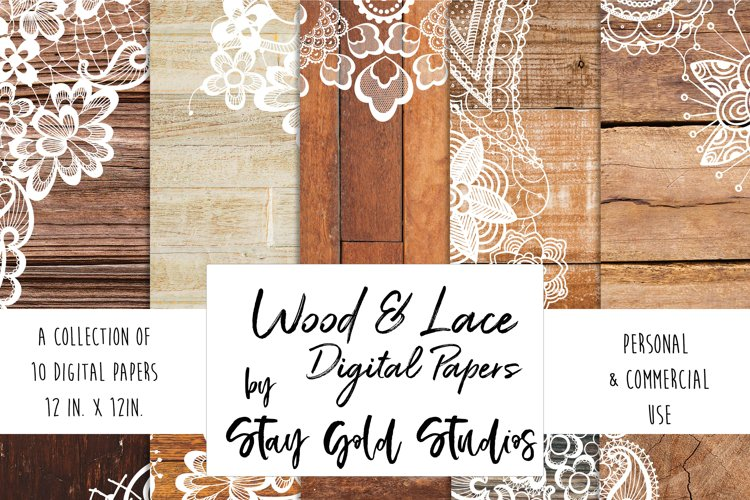 Wood & Lace Digital Papers example image 1