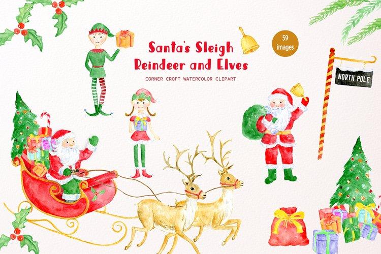 Watercolor Santas Sleigh, Reindeer, Santa Claus and Elf