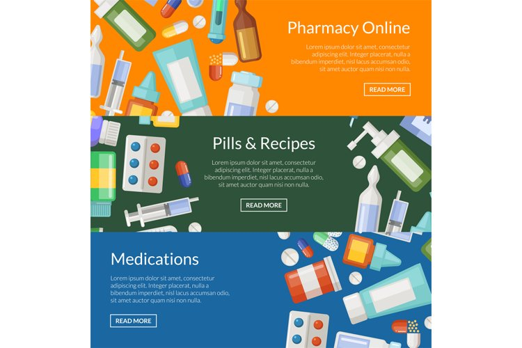 Vector cartoon pharmacy or medicines horizontal banner templ example image 1