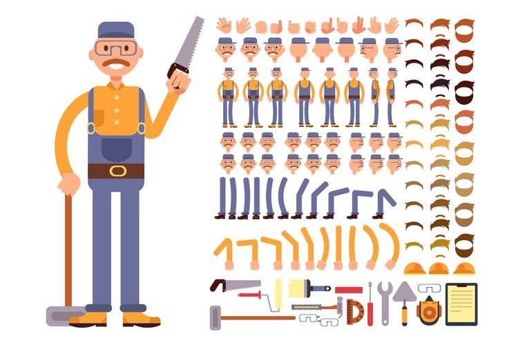 Cartoon man construction worker in jumpsuit vector character example image 1