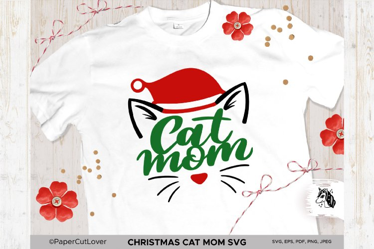 Christmas Cat Mom SVG at Mama SVG Cat in Santa Hat SVG example image 1