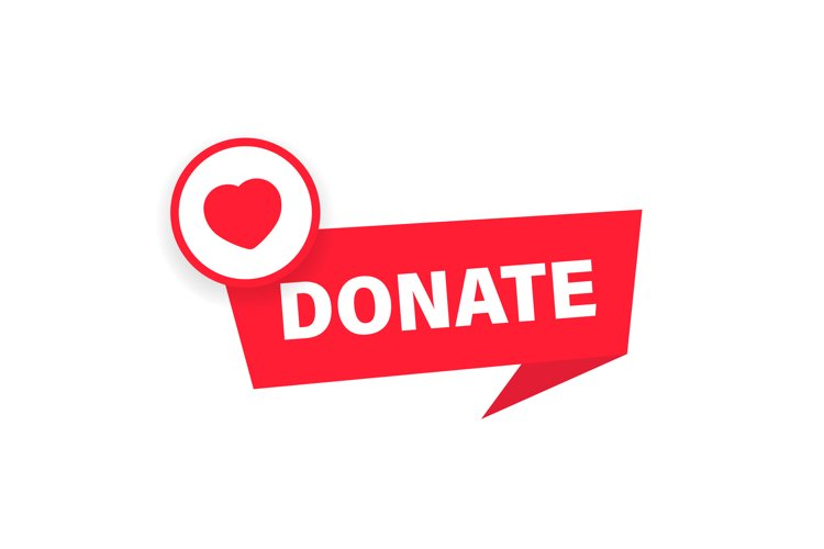 Donate button. Charity fundraising concept. Red button example image 1