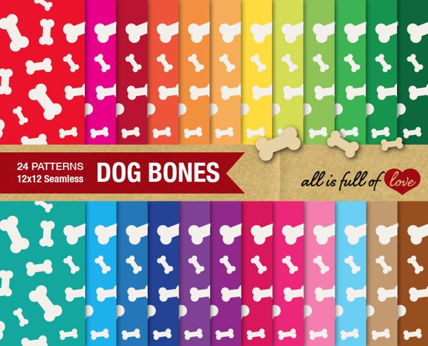 Dog Bones Digital Paper Doggy Bone Background Patterns for print or web example image 1