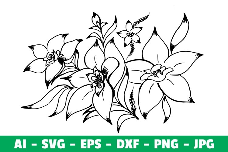 Flower Clipart Silhoutte SVG example image 1