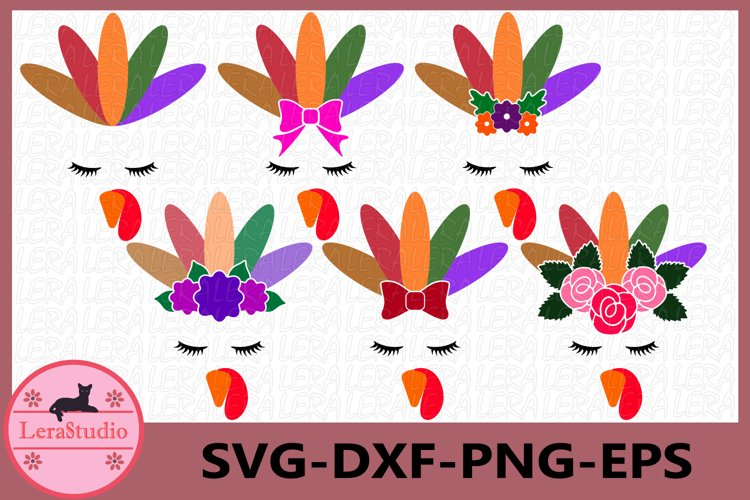 Turkey SVG, Turkey Face SVG, Thanksgiving svg, Patterns example image 1
