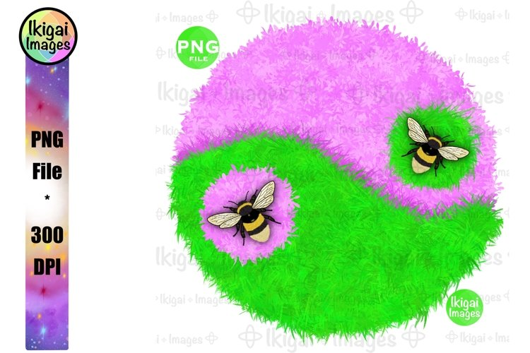 Yin Yang, Bumble Bees, Nature, Garden, PNG Sublimation example image 1
