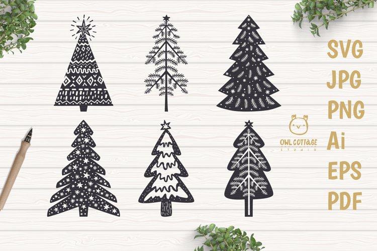 Scandinavian Style X-mas Trees SVG Bundle, Christmas Decor example image 1