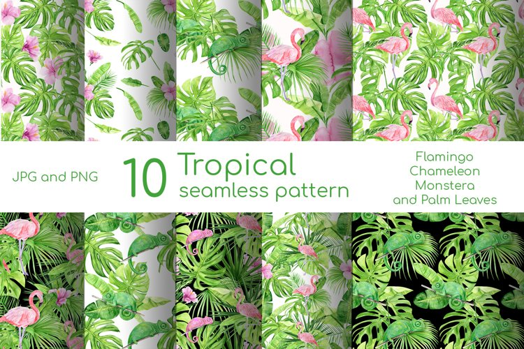 Watercolor tropical seamless pattern with pink flamingo example