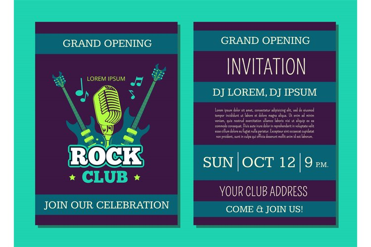 Vector invitation card template opening rock music club with example image 1