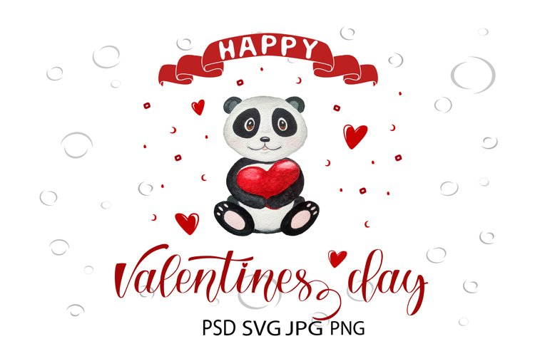 Valentines day watercolor illustration. Valentines SVG example image 1