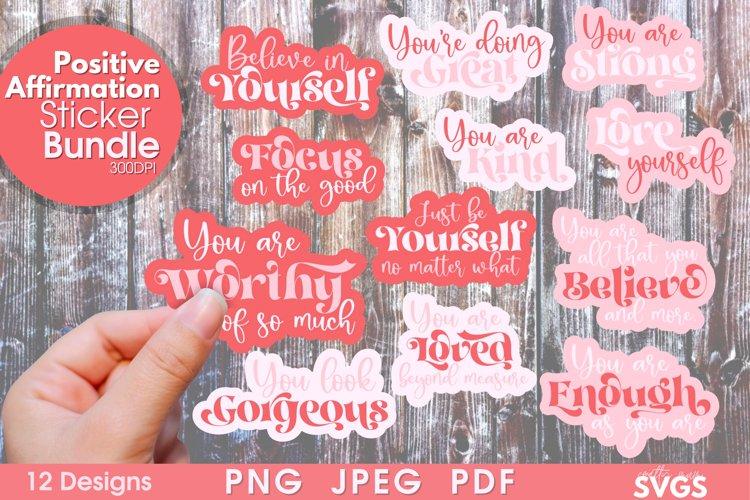 Positivity PNG Sticker Bundle | Printable Sticker Pack