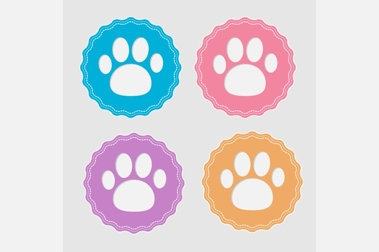 Set of four labels with paw print. example image 1