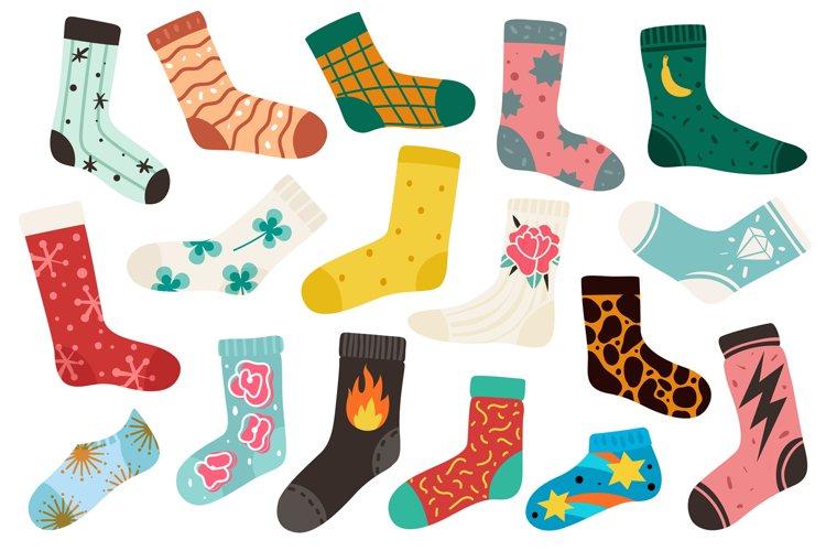 Trendy socks. Cotton stylish long and short funny sock desig example image 1