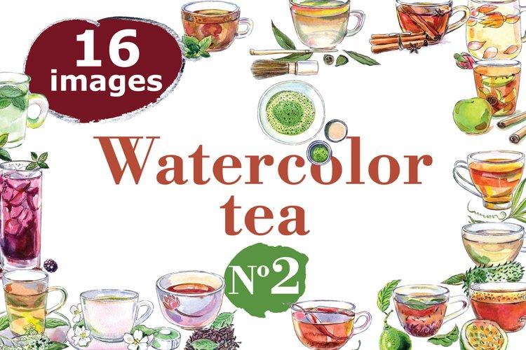 Watercolor tea-2 vector set example image 1