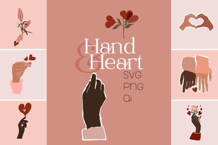 Hand and Heart Graphics Set example image 1