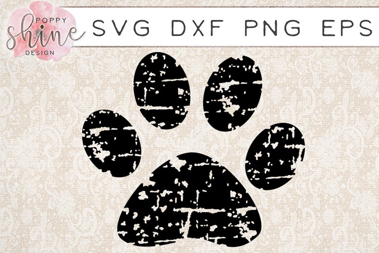 Distressed Paw Print SVG PNG EPS DXF Cutting Files