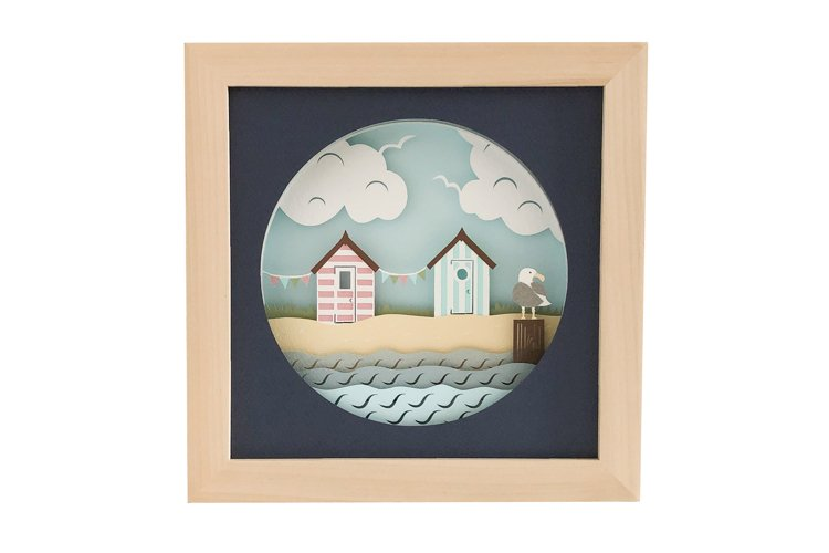 Beach Hut 3D Shadow Box SVG Layered Paper Cut Template