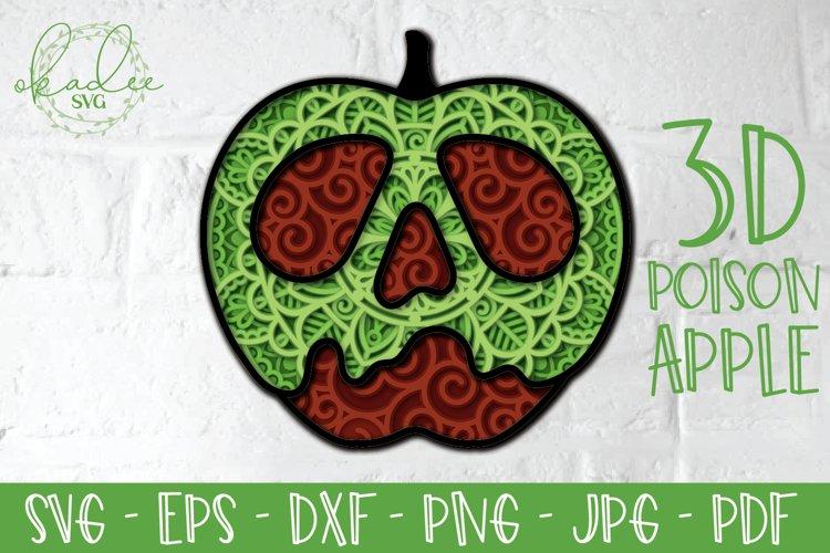 3D Poison Apple SVG, Layered Mandala, Halloween Papercut DXF