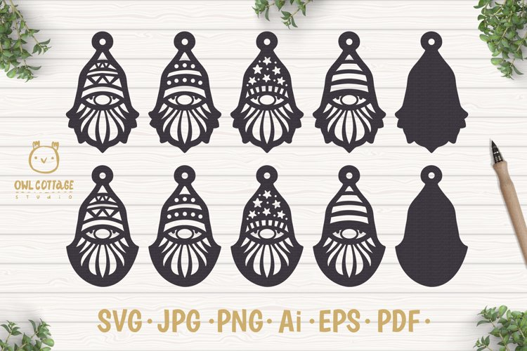 Gnomes Earrins Template Set SVG, Gnome Clipart, Tomte