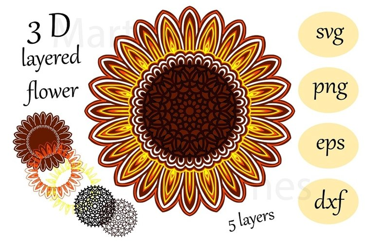 3 D layered sunflower Mandala svg cut file