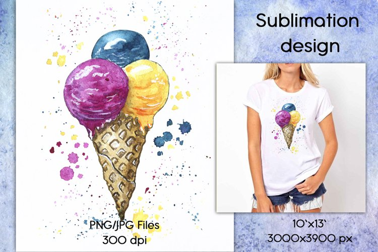 Ice cream watercolor sublimation designs downloads PNG JPG example image 1